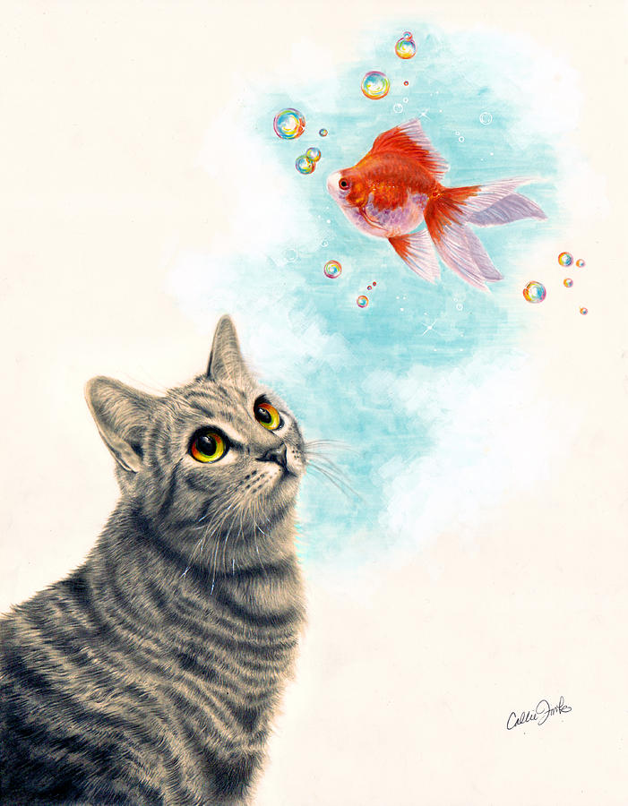 Goldfish Drawing - Goldfish Dreams by Callie Fink