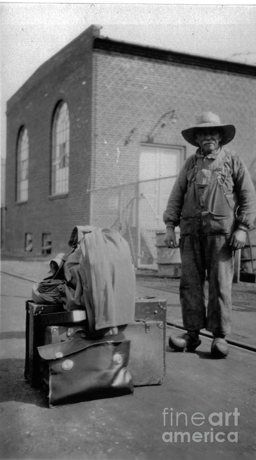Goldminer Photograph - Goldminer Waiting For The Train by Finn Trygvason Klingenberg