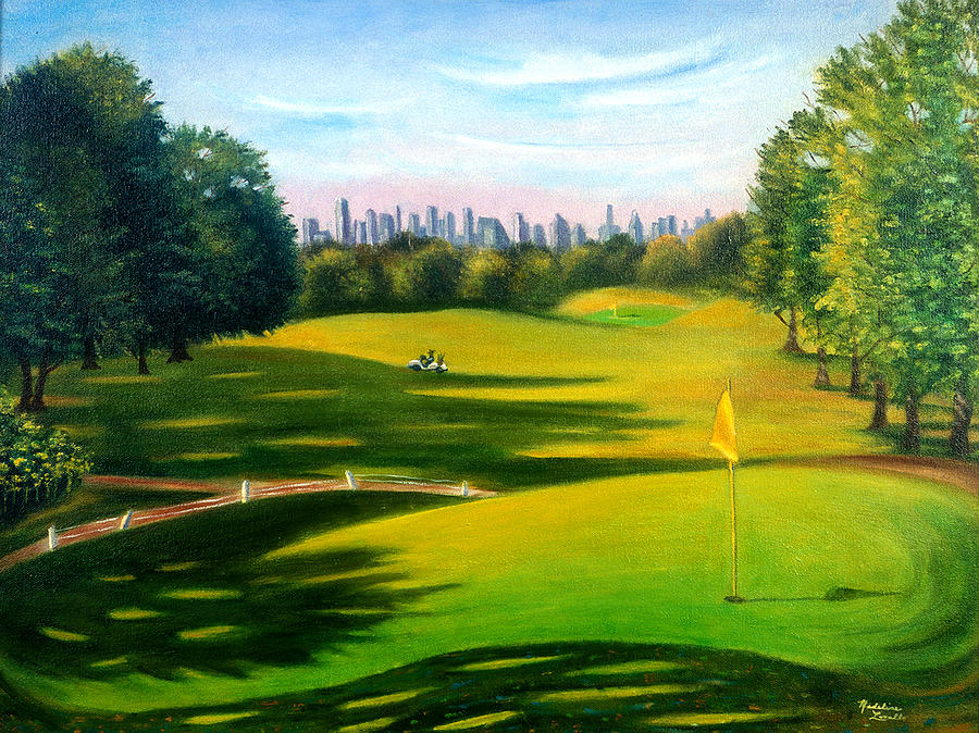 Golf Painting - Golf Course At Forest Park by Madeline  Lovallo