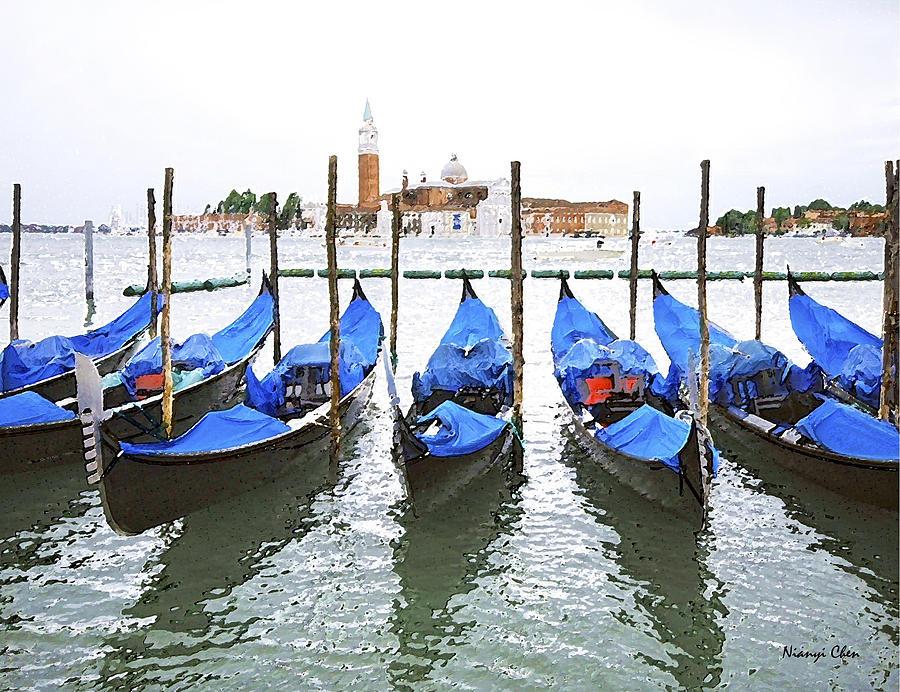 Landscape Photograph - Gondolas In Venice  by Nian Chen