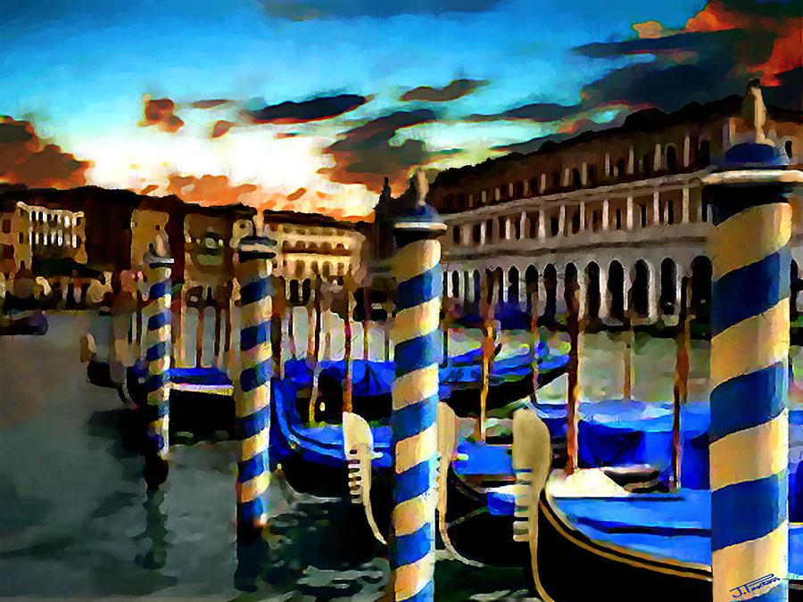 Venice Digital Art - Gondolas Under A Summer Sunset by Jann Paxton