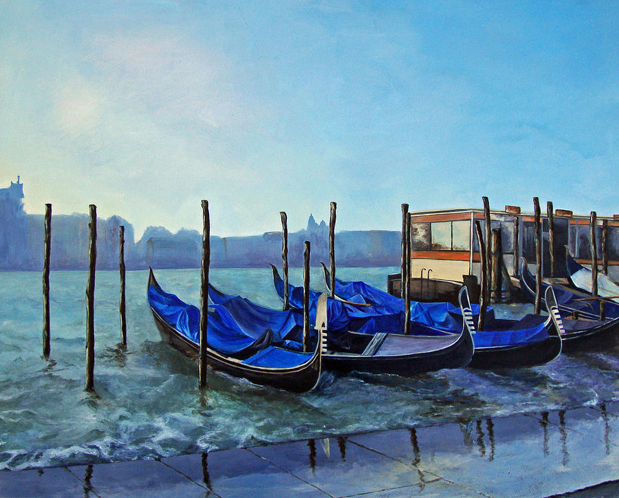 Water Painting - Gondolier Dock Venice Italy by Jean Rascher