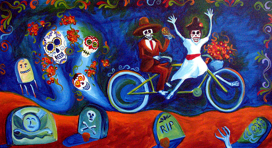 Day Of The Dead Painting - Gone With The Wind Day Of The Dead by Janet Oh