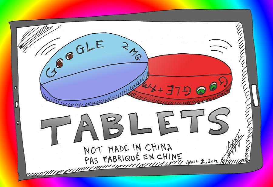Google Mixed Media - Google Tablets Cartoon by OptionsClick BlogArt