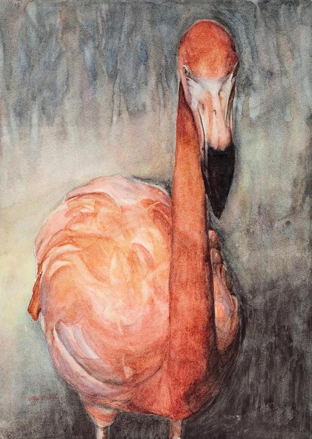 Flamingos Painting - Got Shrimp? by Kathy Michels