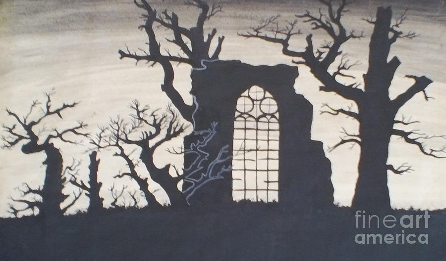 Gothic Drawing - Gothic Landscape by Silvie Kendall