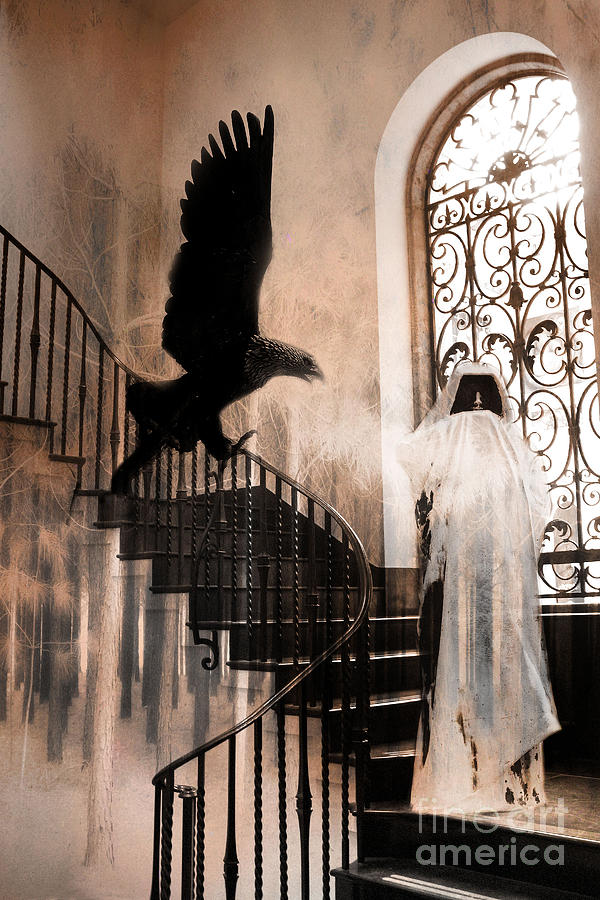 Gothic Halloween Photos Photograph - Gothic Surreal Grim Reaper With Large Eagle by Kathy Fornal