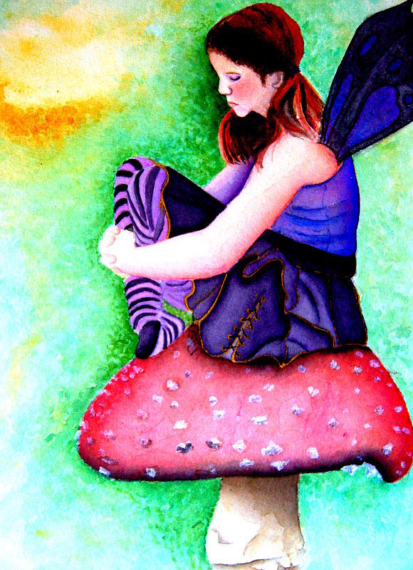 Fairy Painting - Gothic Teenage Fairy by Amanda Pillet