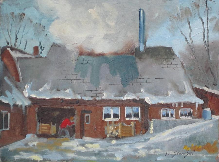 Maple Sap Painting - Goulds Sugar House by Len Stomski