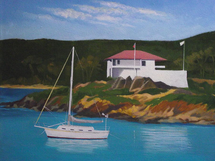 St. John Painting - Government House At Cruz Bay by Robert Rohrich
