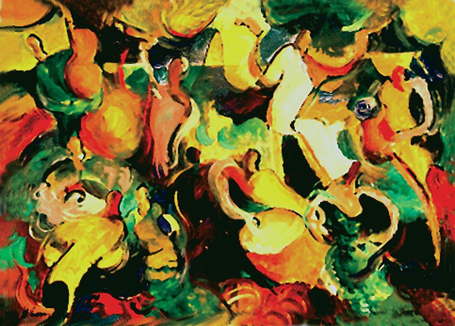 Abstract Painting - Gozando by John Crespo Estrella