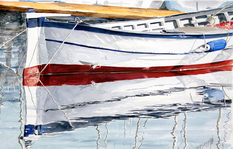 Sea Scape Painting - Gozzo Bianco by Giovanni Marco Sassu