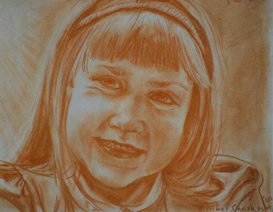 Self Portrait Drawing - Grade One by Jennifer Christenson