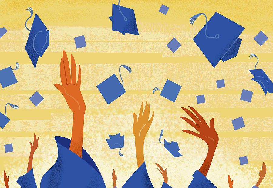 Graduates Throwing Graduation Hats Digital Art by Harry Briggs