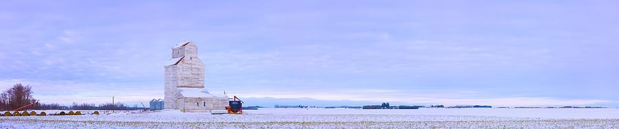 Ice Photograph - Grain Elevator In Early Winter Field by Corey Hochachka