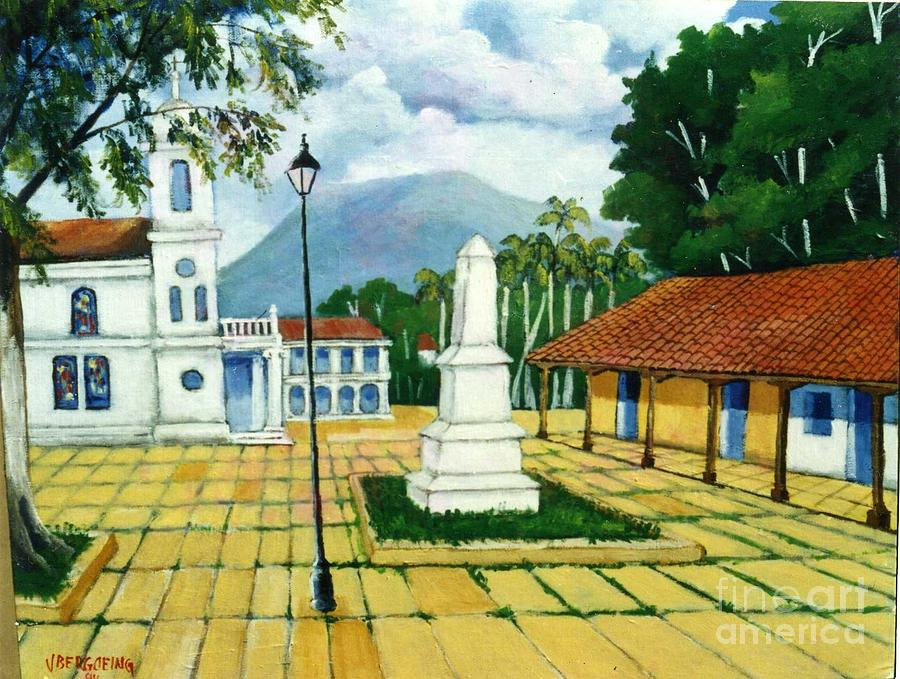 Colonial Houses Painting - Granada Square by Jean Pierre Bergoeing