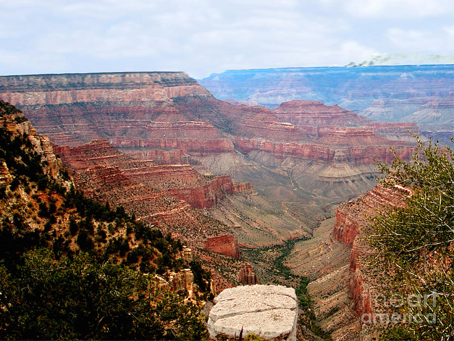 Post Card Photograph - Grand Canyon With Smoke by The Kepharts