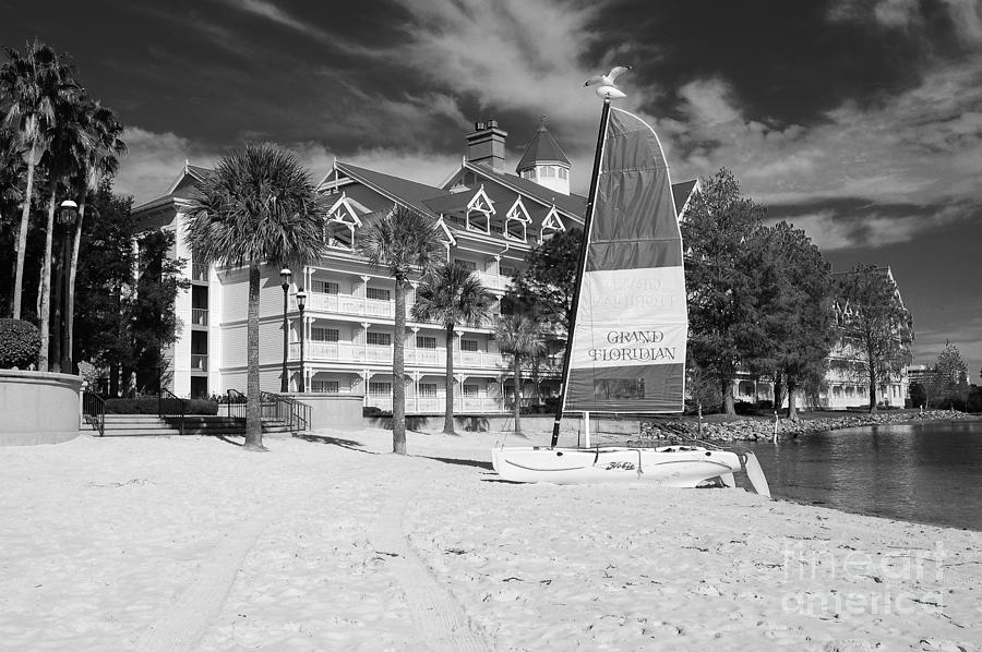 Grand floridian photograph grand floridian resort beach walt disney world prints black and white by