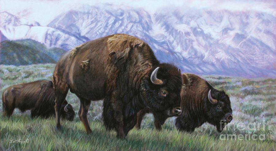 Bison Painting - Grand Teton Bison by Deb LaFogg-Docherty