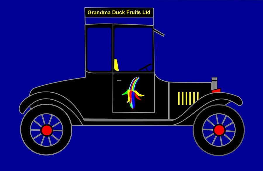Banana Digital Art - Grandma Duck Fruits Ltd - Virtual Car by Asbjorn Lonvig