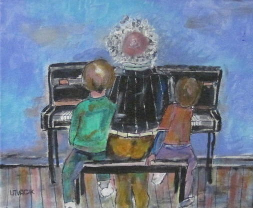 Piano Painting - Grandpa And The Lesson by Michael Litvack