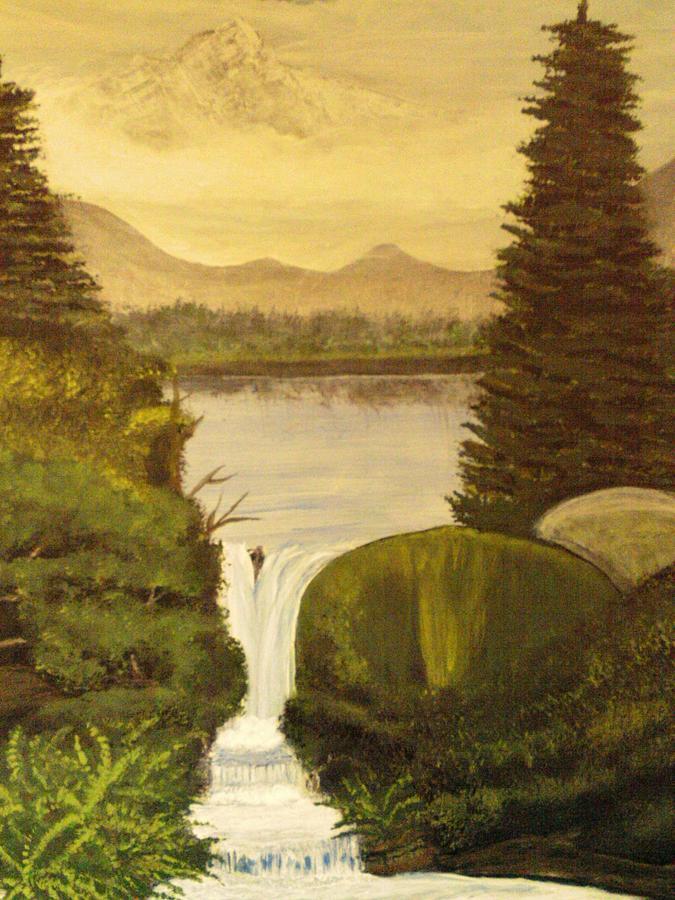 Landscape Painting - Grandpa Mountain by Mitzi Foreman