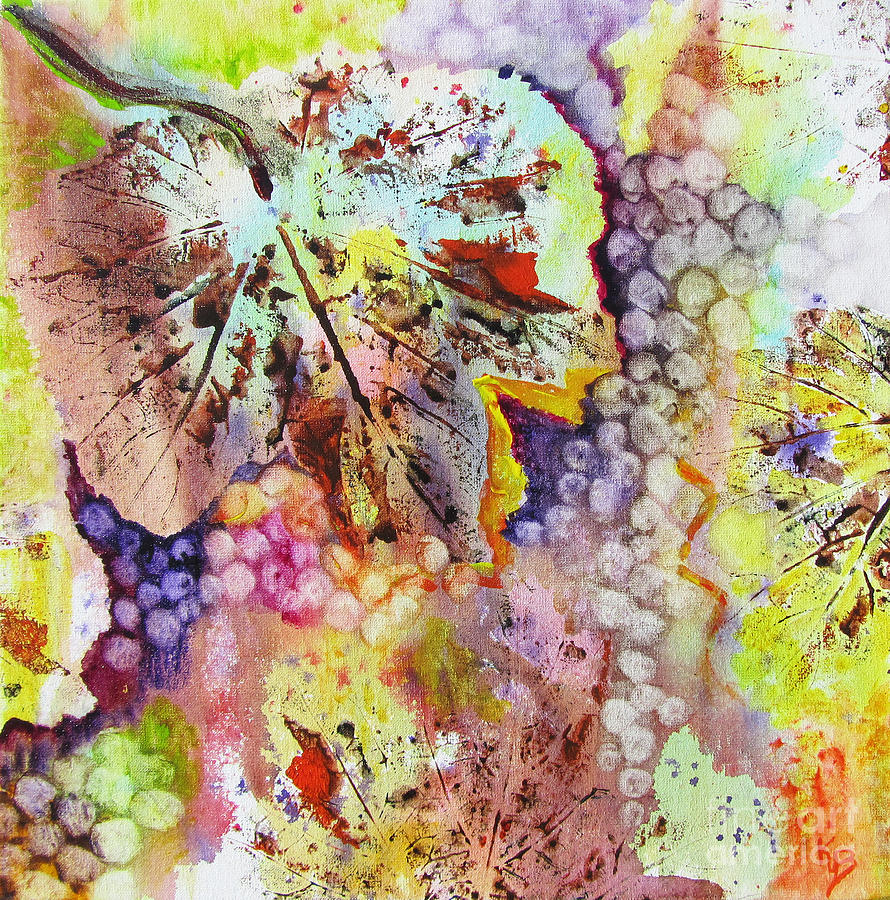 Grapes Painting - Grapes And Leaves Vi by Karen Fleschler