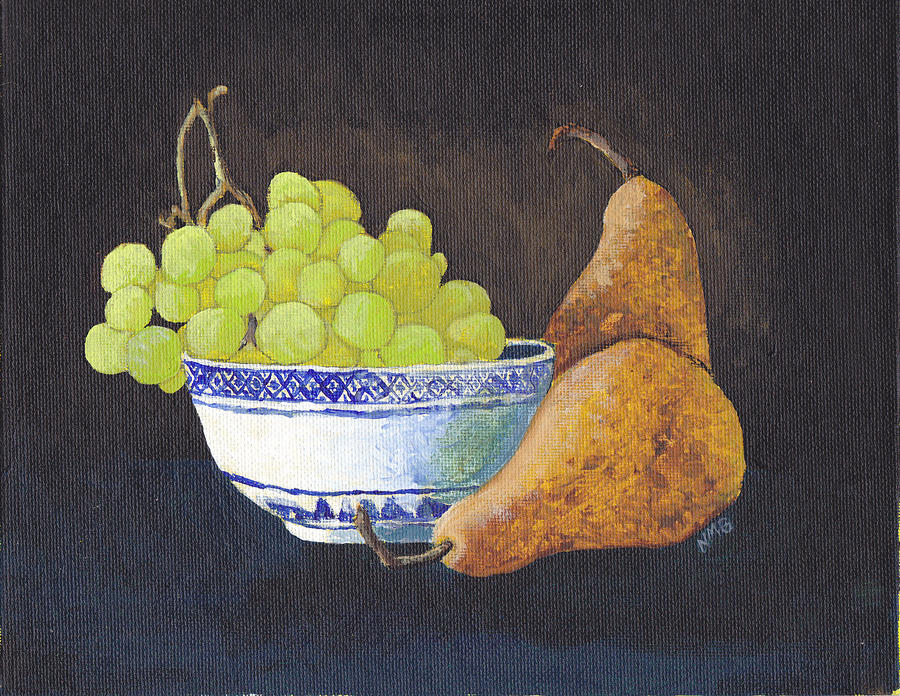 Green Painting - Grapes And Pears by Nicole Grattan