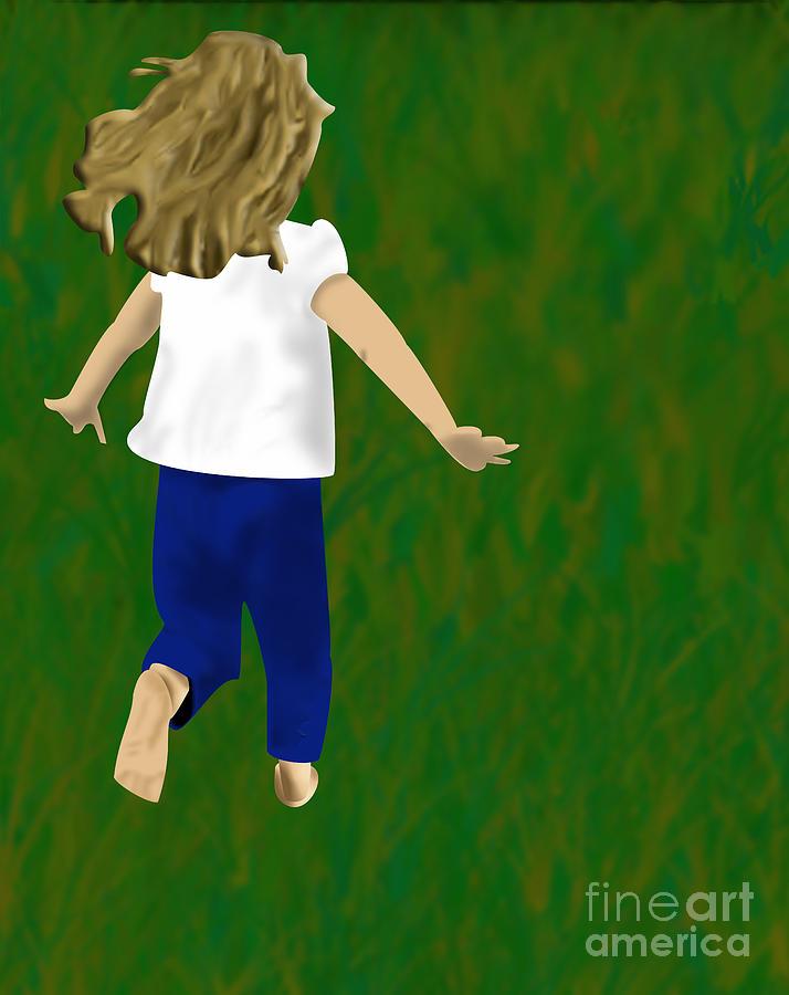 Child Digital Art - Grass Under My Feet by Melissa Stinson-Borg