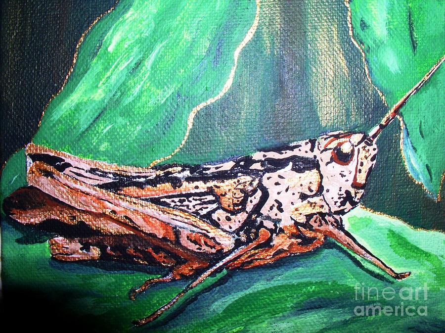 Bug Painting - Grasshopper by Valerie Josi