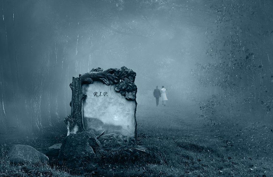 Autumn Photograph - Grave In A Forest by Jaroslaw Grudzinski