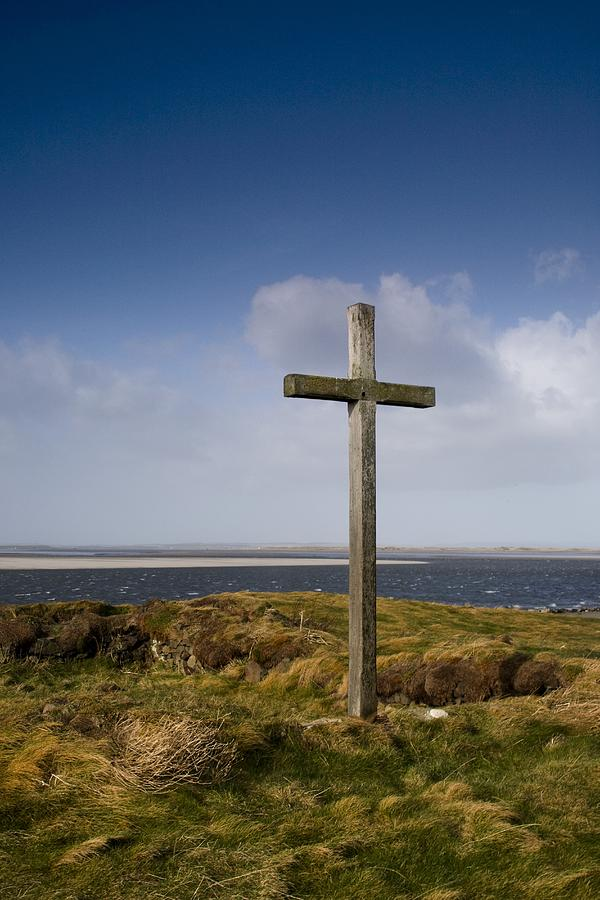 Beliefs Photograph - Grave Site Marked By A Cross On A Hill by John Short