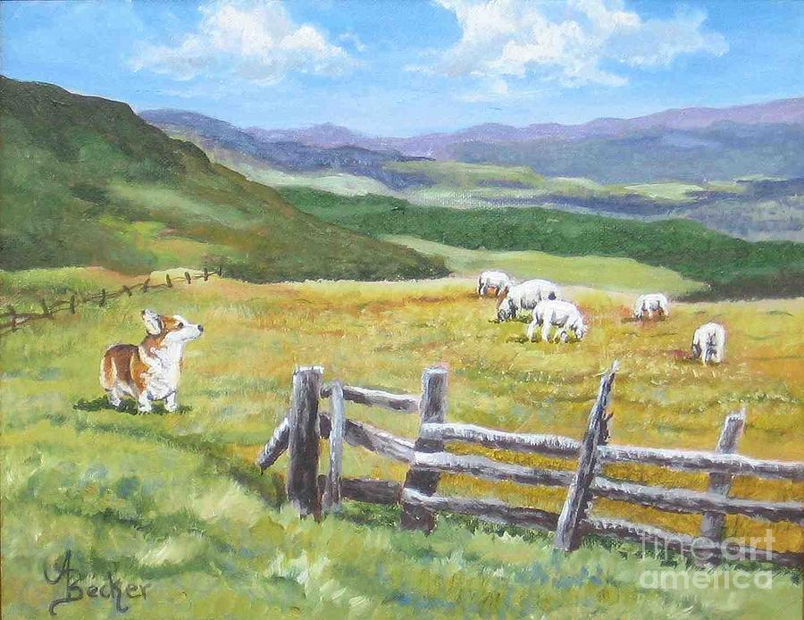 Dog Painting - Grazing On Golden Fields by Ann Becker