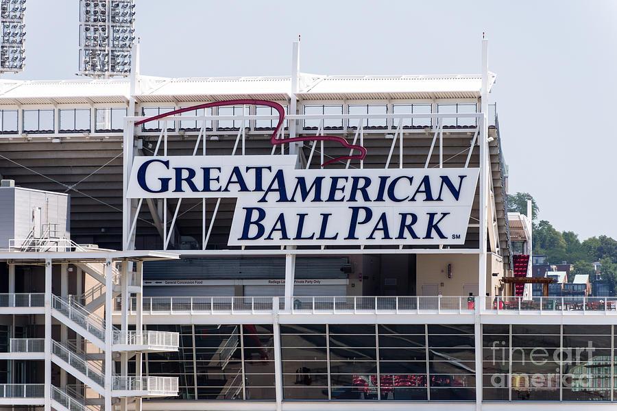 America Photograph - Great American Ball Park Sign In Cincinnati by Paul Velgos