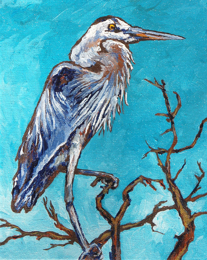 Heron Painting - Great Blue Heron by Sandy Tracey