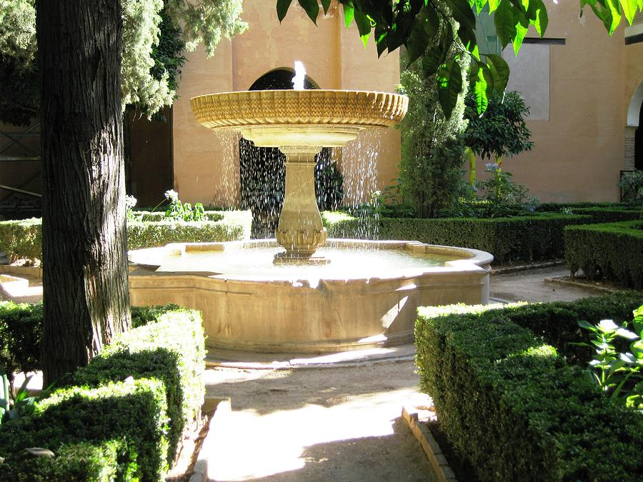 Great Courtyard Water Fountain Granada Spain Photograph By