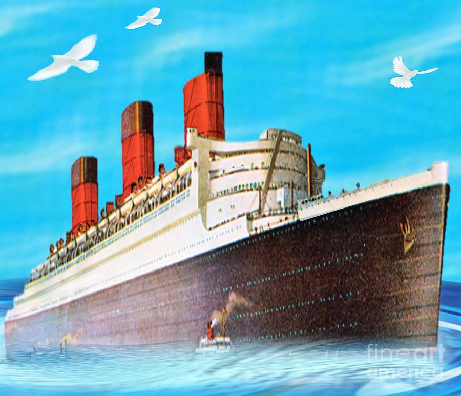 Ship Painting - Great Ocean Liner by Belinda Threeths