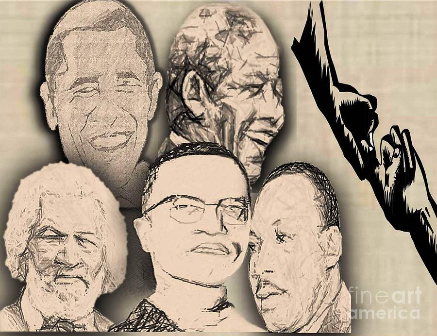 Nelson Mandela Digital Art - Great Powerful African American Men by Belinda Threeths