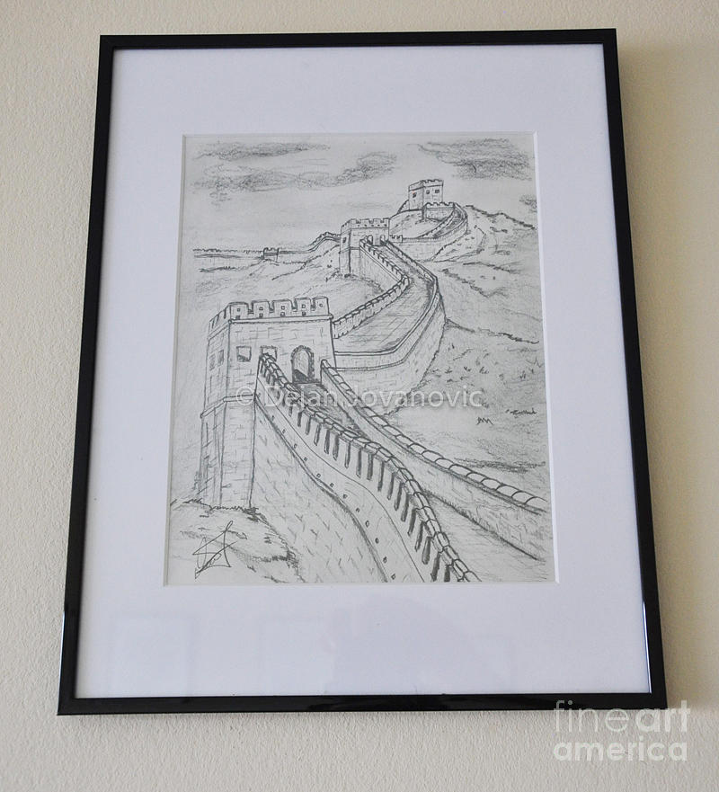 Pencil drawing drawing great wall of china by dejan jovanovic