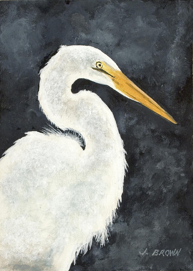 Great white egret painting by john brown for White heron paint
