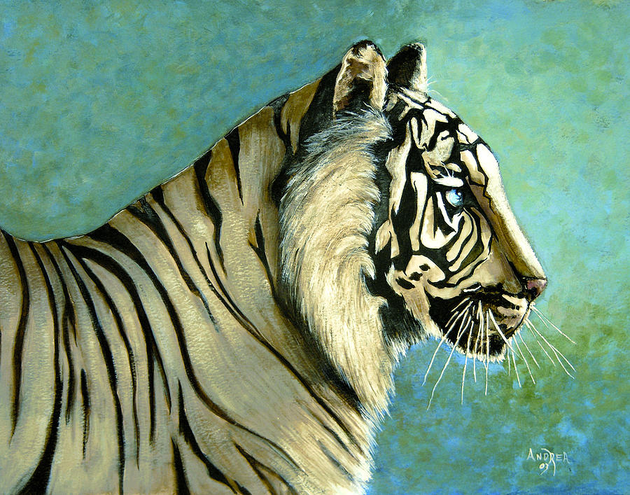 Tiger Painting - great White Hunter by Andrea Camp