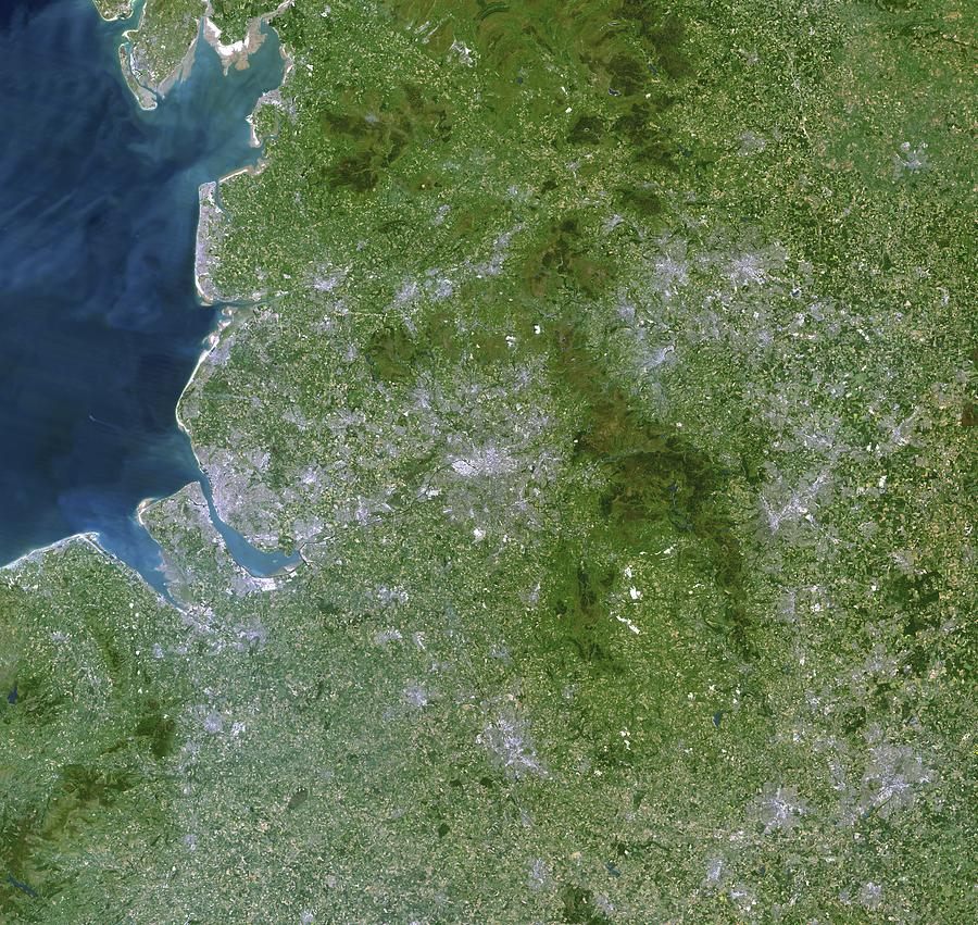 Greater Manchester Photograph - Greater Manchester, Satellite Image by Planetobserver