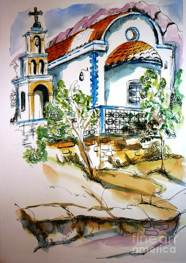 Church Painting - Greek Church by Therese Alcorn