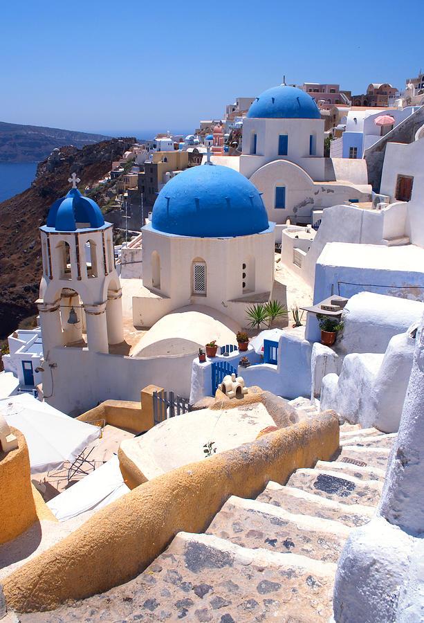 Santorini Photograph - Greek Churches And Steps by Paul Cowan