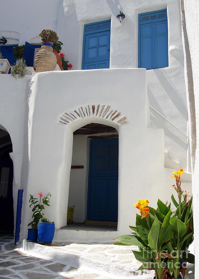 Flower Photograph - Greek Doorway by Jane Rix
