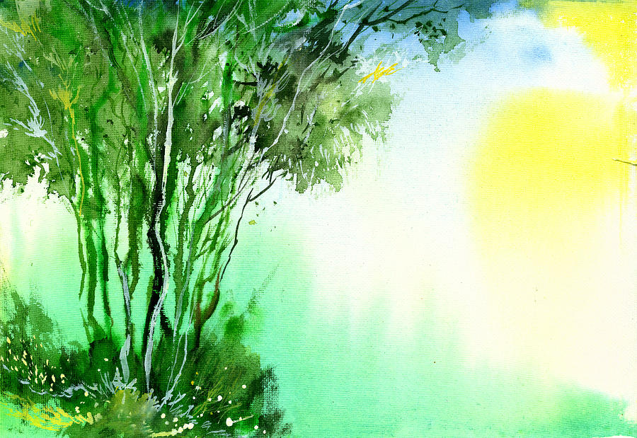 Nature Painting - Green 1 by Anil Nene