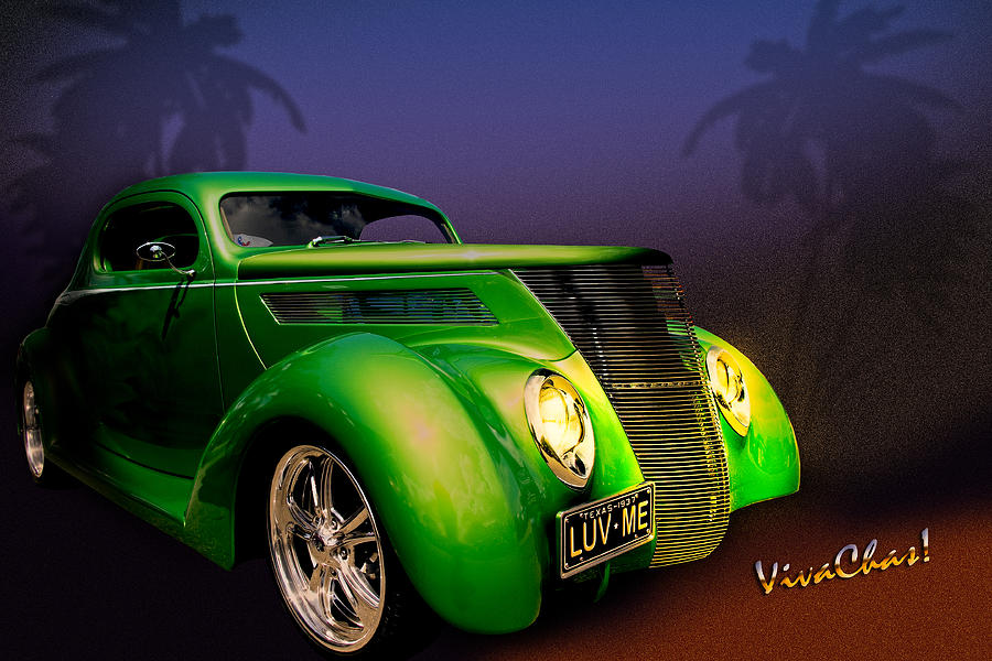 37 Photograph - Green 37 Ford Hot Rod Decked Out For A Tropical Saint Patrick Day In South Texas by Chas Sinklier