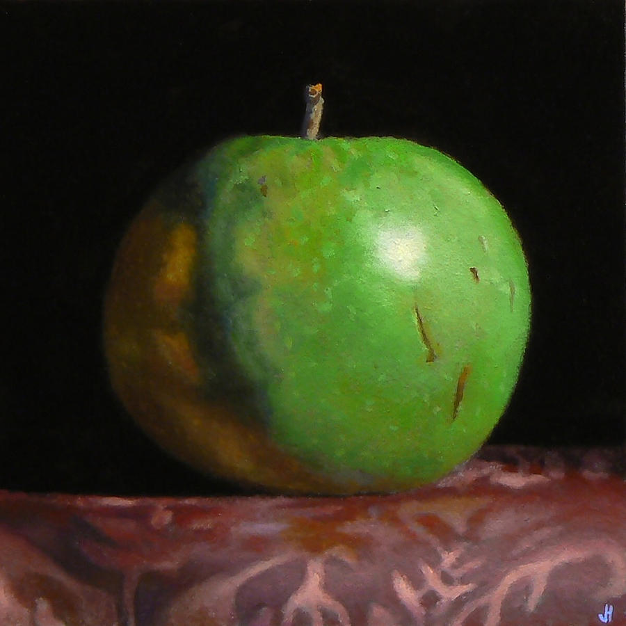 Green Apple Painting - Green Apple Number 4 by Jeffrey Hayes