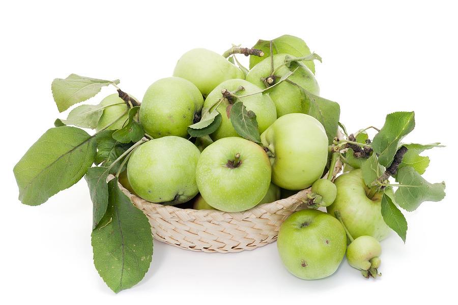 Apples Photograph - Green Apples In Basket by Aleksandr Volkov