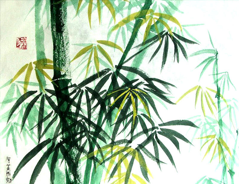 Green Bamboo Painting By Alethea Mckee
